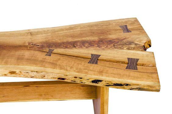 Close up shot of the Walnut keys on the cherry slab coffee table. #guddeco #atx #austintexas #austinhome #madeinaustin #woodworking #finewoodworking #livingroom #cherrywood #design #slab #liveedge #coffeetable #home #festool by guddeco