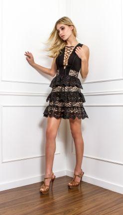 VESTIDO BABADO RENDA - VE20979-03 | Skazi, Moda feminina, roupa casual, vestidos, saias, mulher moderna