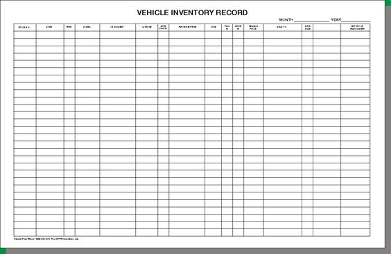 vehicle inventory sheet | 7955 vehicle inventory record ...
