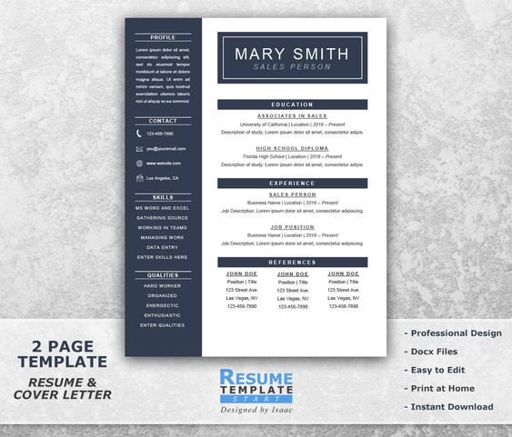 One Page Resume Template Word One Page Resume Template Word Resume Coverresumetemplatestart