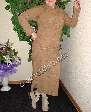 Вязаное платье с капюшоном. Описание вязания платья.
