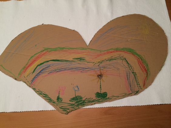 Regenbogenherz mit Blumenwiese von meinem Patenkind Katharina