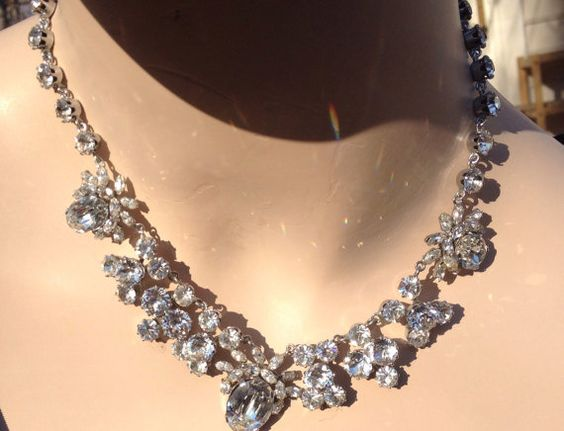 SOLD Absolutely Incredible Vintage Bridal Set Necklace and Earrings