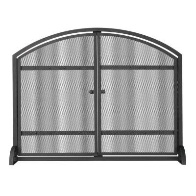 UniFlame 1-Panel Arch Top Black Wrought Iron Fireplace Screen with Doors-S-1066 at The Home Depot
