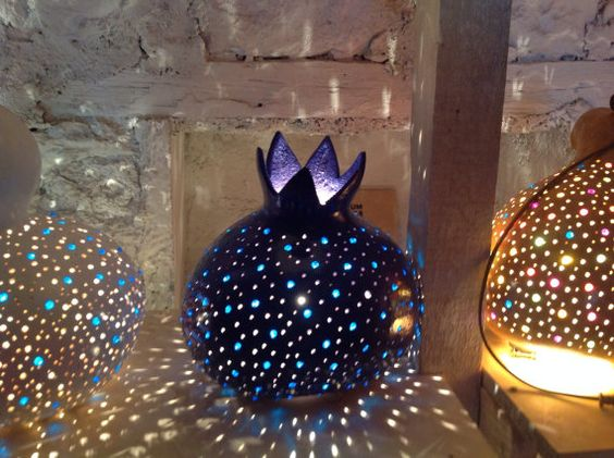 Unique Handmade Carved & Decorated Pumpkin Lamp Shade, Pomegranate shape in various colours,  Valentine's gift, wedding gift, garden party