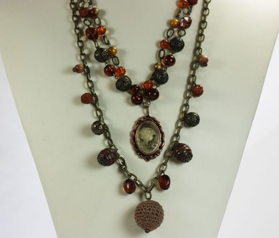 Multi Chain Necklace Rust and Amber Lucite Beads Filigree Beads Cameo Dangle #Unbranded #Statement