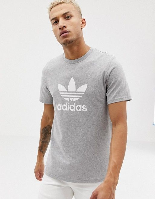 Black Grey Men/'s New Adidas Originals Trefoil Logo T-Shirt Top Retro Vintage