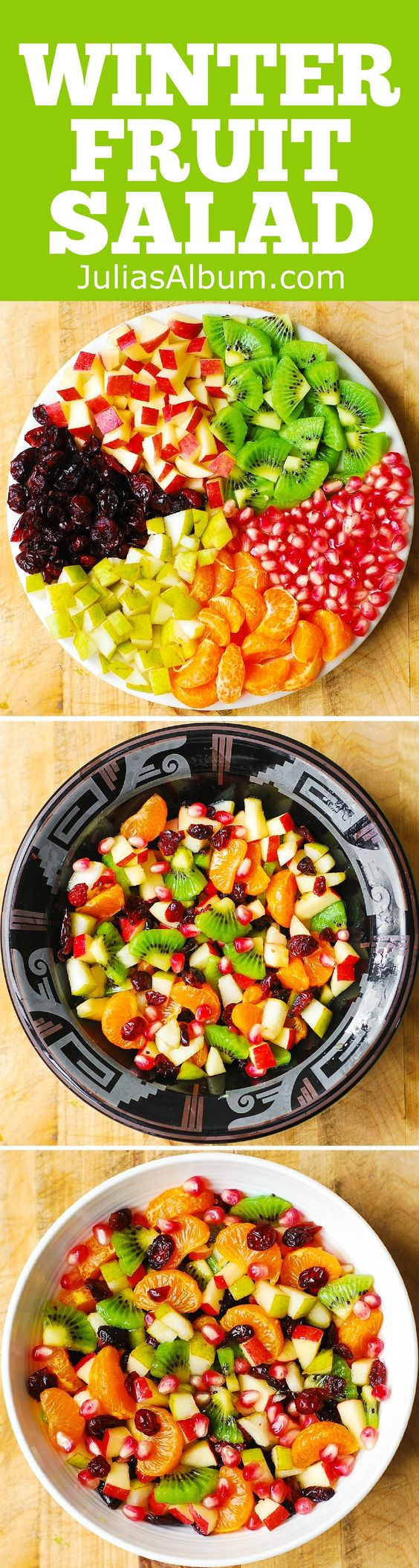 Winter Fruit Salad. Salad ingredients include red apples, pears, kiwi ...