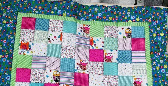 Kinderdecke große Eulen  von Meine bunte Flickenecke auf DaWanda.com