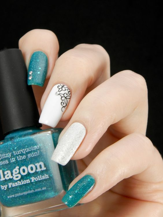 Picture Polish Lagoon, Opi Solitaire & Gina Tricot White