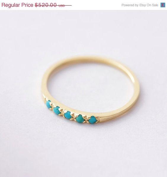 ÉTÉ vente Pave anneau Turquoise  mince anneau Turquoise par artemer, $442.00