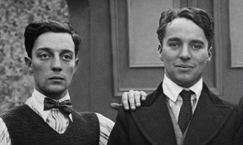 Buster Keaton and Charlie Chaplin, 1918. | Charlie chaplin ...