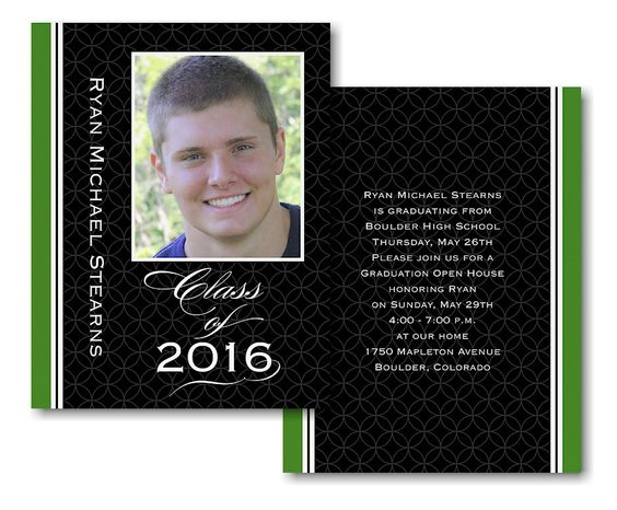 Striped Geometry Open House Graduation Invitation