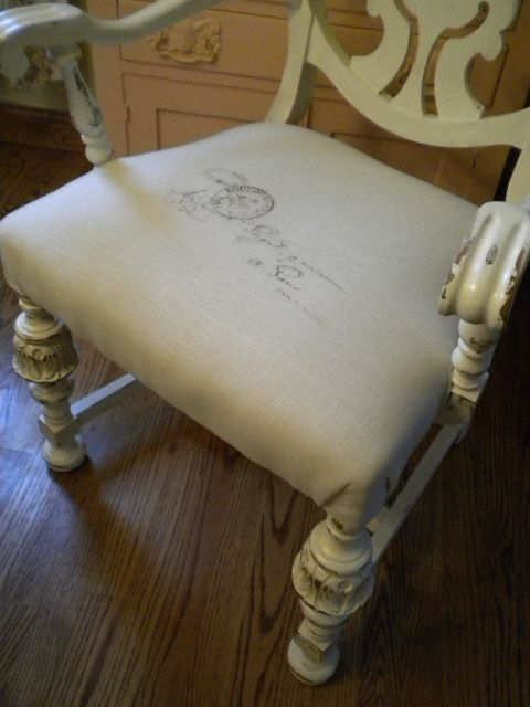 Distressed thrift shop chair with Paris postmark seat (Graphics Fairy)