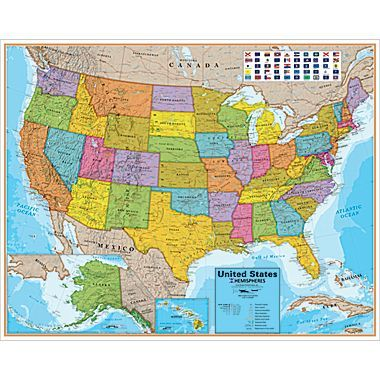 Round World Products United States Laminated Map
