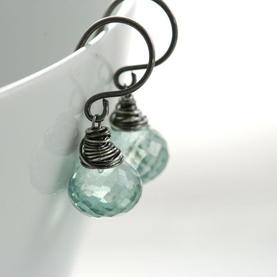 Teal Green Quartz Earrings in Oxidized Sterling Silver by aubepine