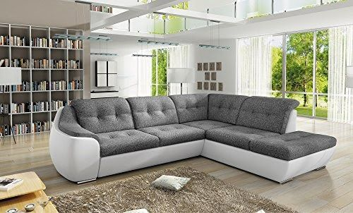 Bmf Ver 21 White Grey Modern Corner Sofa Bed Storage Faux Leather And Fabric Right Facing 288cm X 230cm Bmf Gen In 2020 Corner Sofa Bed Uk Corner Sofa Bed Corner Sofa