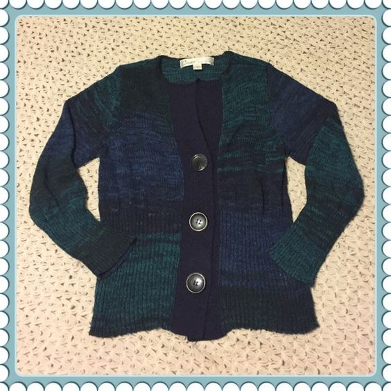 CURIO NY Blue green black marled cardigan sweater Cotton, polyester Anthropologie Sweaters Cardigans