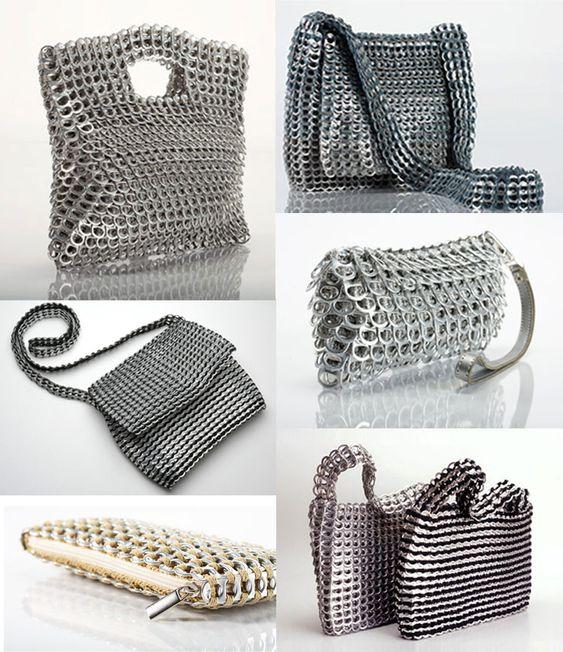 El Arte de Reciclar: Bolsos hechos con chapas de latas de refresco