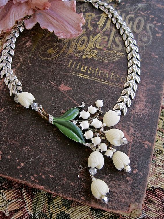 Lily of the Valley Enamel and Celluloid Vintage Assemblage Necklace – Morticia Snow on etsy: