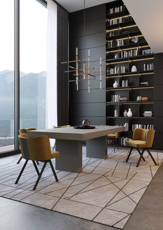 Laskasas | Decorate Life | laskasas.com | Contemporary Dining Room Decor Ideas | Laskasas 2019 New Collection |   Dining room dominated by neutral tones of grey that give to this decoration a sober and reserved character, without becoming flat.