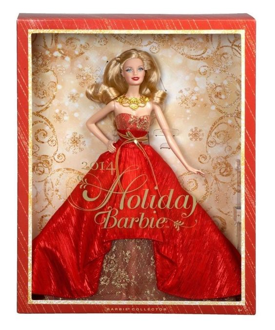 Barbie Collector 2014 Holiday Gorgeous Caucasian Blonde Doll Red Dress NEW #DollswithClothingAccessories #barbie #holidaybarbie