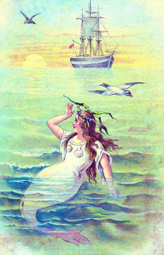Vintage Clip Art - Beautiful Mermaid - The Graphics Fairy