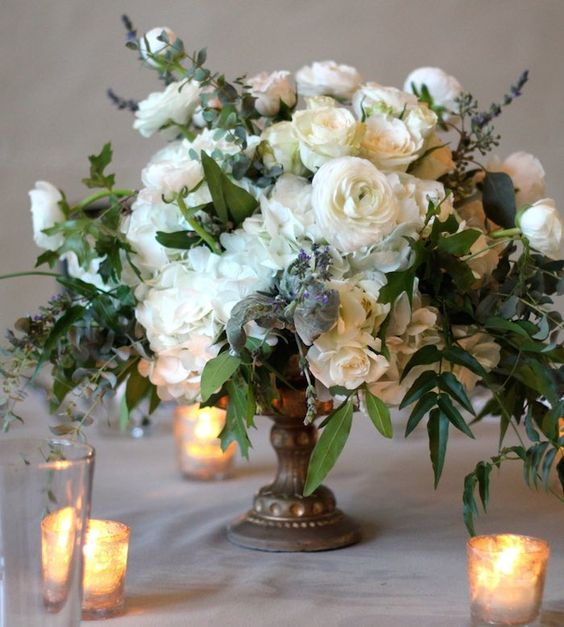 Romantic Wedding centerpieces for Fall and Winter; via Stems Floral Design and Productions:
