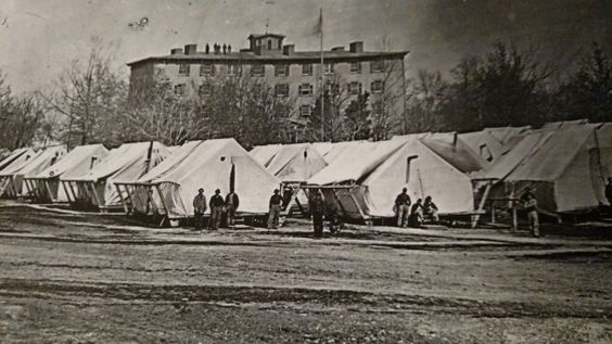 During the war there was a lack of hospital space. Douglas Hospital in Washington DC set up tents for the overflow of the wounded. Photo by Mathew Brady.: