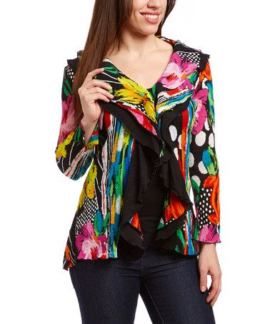Another great find on #zulily! Pink & Black Capri Rosa Crinkle Jacket - Women #zulilyfinds