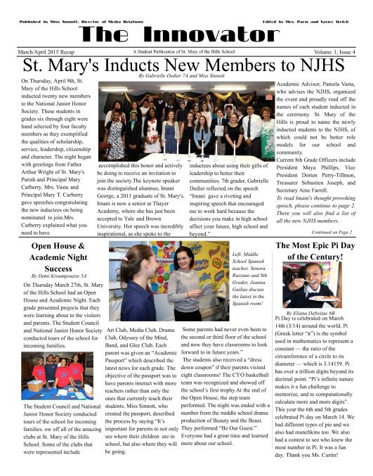 Congrats to The Innovator! Great job on your school newspaper - school newspaper template