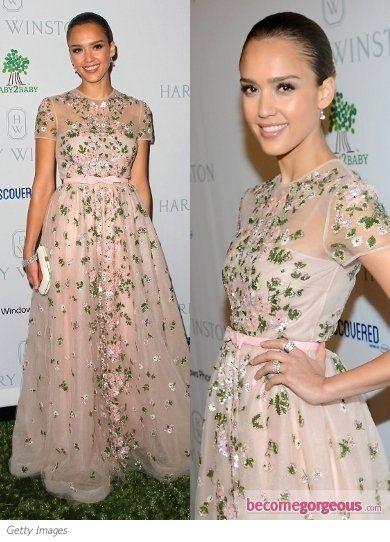 Jessica Alba in Valentino Resort 2013 Floral Dress