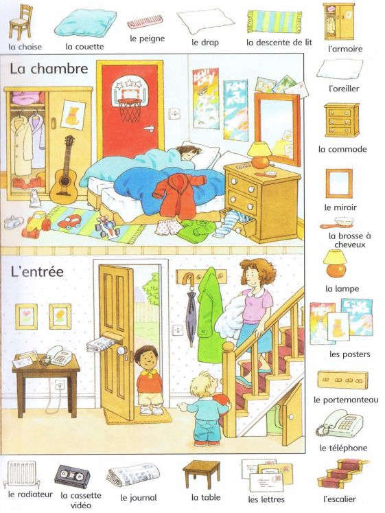 Livre mots and fran ais on pinterest for Chambre in french