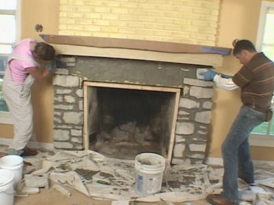 Install A Fireplace Mantel And Add Stone Veneer Facing Mantels The O 39 Jays And Brick Fireplaces