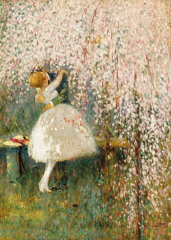 Georges Picard (French, 1857-1946) Romance under the blossom tree