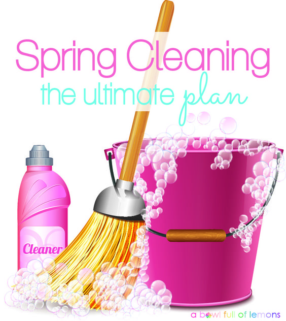 Spring cleaning doesn't have to happen only in the Spring. Get in the habit of deep cleaning your house throughout the year for a more enjoyable cold and flu season, cheerier New Year and more! Spring cleaning plan via A Bowl Full of Lemons