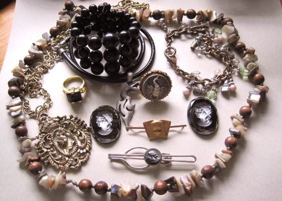 Vintage Jewelry Lot Mother of Pearl Glass by MoonlightMartini, $15