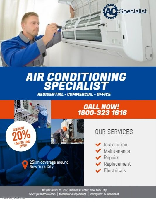 Air Conditioning Specialist Flyer Poster Disenos De Imagenes