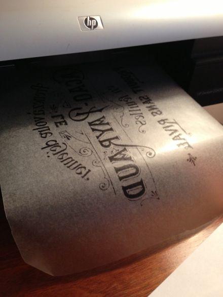 Wax Paper in Printer  transfer...Countrydesignhome.com