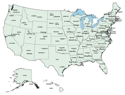 State Map With Capitals eastern us map capitals ...