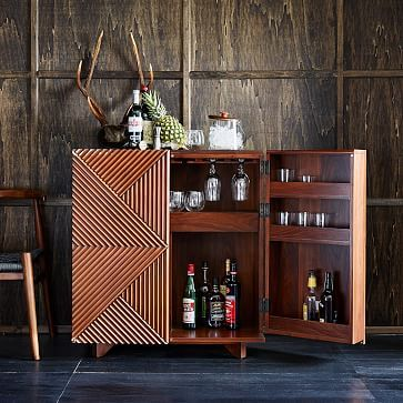 """Rosanna Ceravolo Bar Cabinet #westelm- This could be a really cool option to bring in and would add a warmer tone to the room. It is taller at 38"""""""