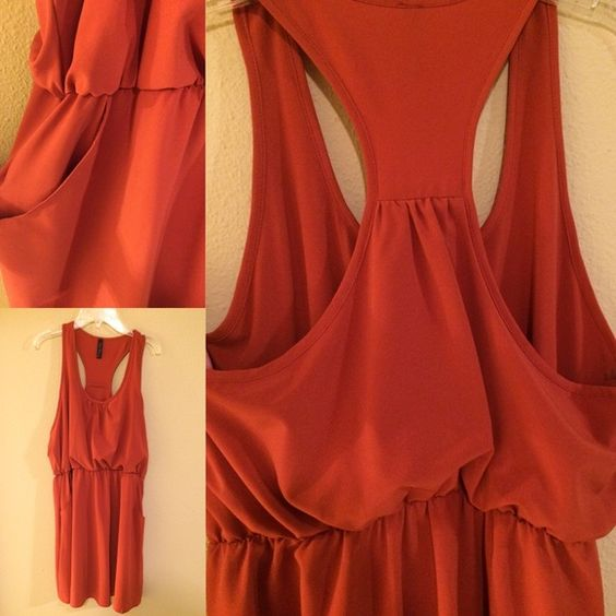 Final touch orange mini dress This dress is very pretty on. It is good for a night out paired with high hills and a belt or casual with some sandals. Pockets on the sides. Final touch Dresses Mini