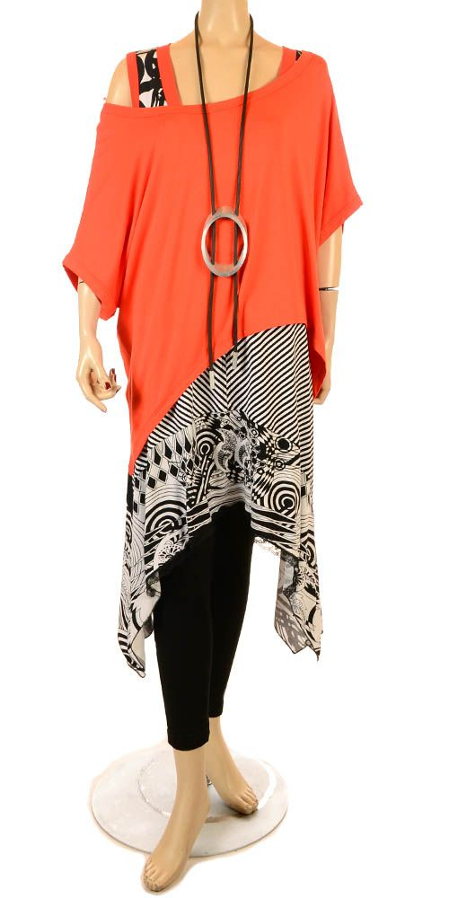 Mat Orange Easy Asymmetric Overlay Top - Summer 2013-Mat, lagenlook, womens plus size UK clothing, ladies plus size lagenlook fashion clothing, plus size coats, plus size dresses, plus size jackets, plus size trousers, plus size skirts, plus size petticoats, plus size blouses, plus size shirts, plus size tops, plus size tunics, lagenlook plus size fashion clothing: