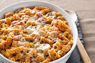 Pâtes, poulet et champignons