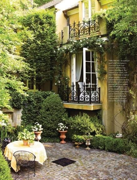 Cottages little cottages and mornings on pinterest for French country courtyard