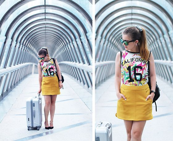 Pimkie California Top, Zara Mustard Skirt, San Marina Heels, Le Monde Du Bagage Suitcase, Zero Uv Sunglasses