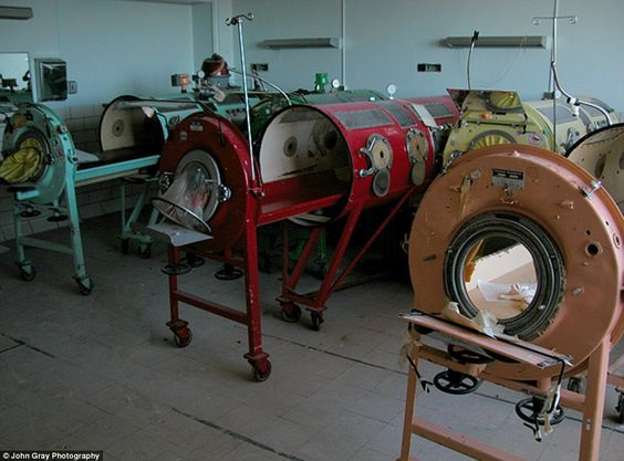 iron lungs from Lakeville State Hospital in Massachusetts  I'm so glad these can be abandoned! No more polio!