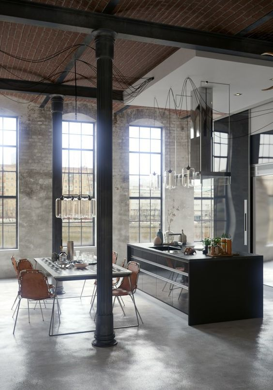 black accents look great in this industrial kitchen.  not sure if it'd work in my kitchen with my low ceilings?: