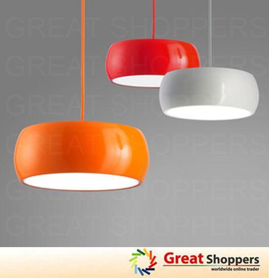 New Modern Color Shade Ceiling Light Pendant Lamp Fixture Red Orange White