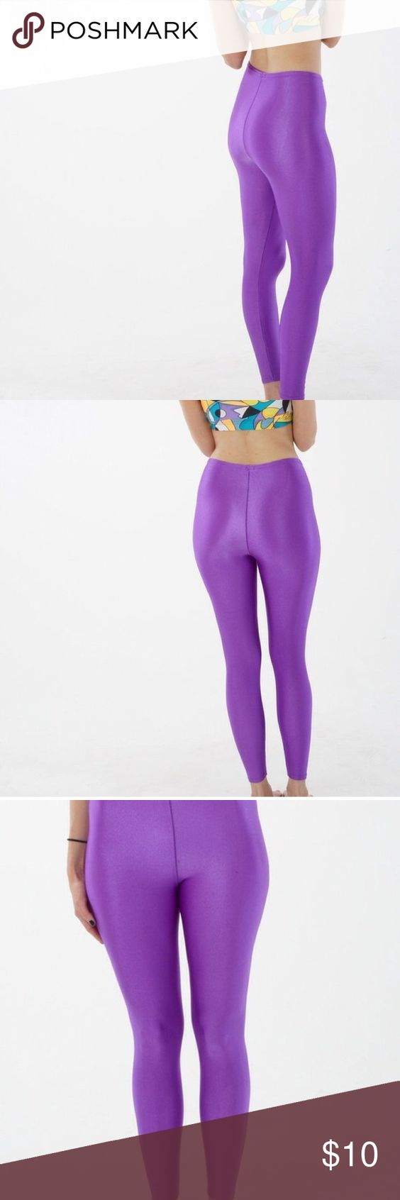 v i n t a g e 80s workout pants Vintage 80s Pro Spirit leggings in bright purple. These leggings have a super high waist and are perfect for working out or wearing out. Size marked small. 85% nylon, 15% Lycra. Two very small spots in front, one spot in back. #leggings #workout #80s Vintage Pants Leggings